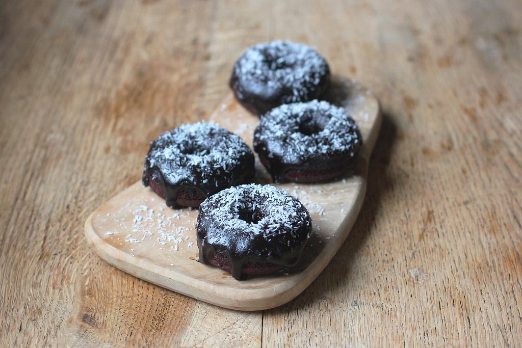 chocolate coconut fudge donuts