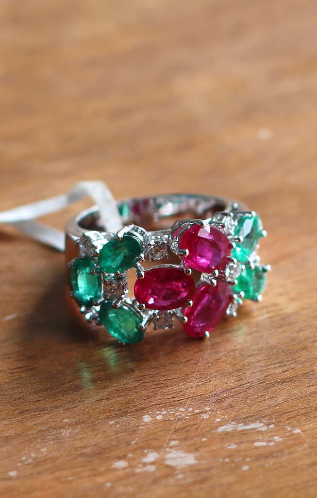 diamond, emerald and ruby ring