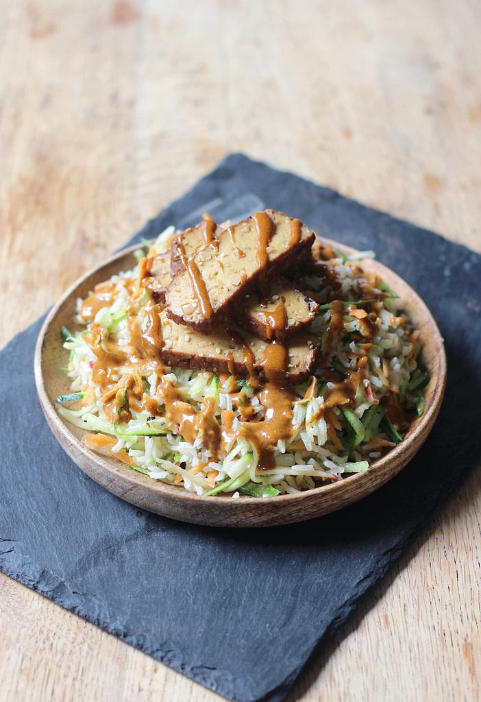 asian brown rice salad