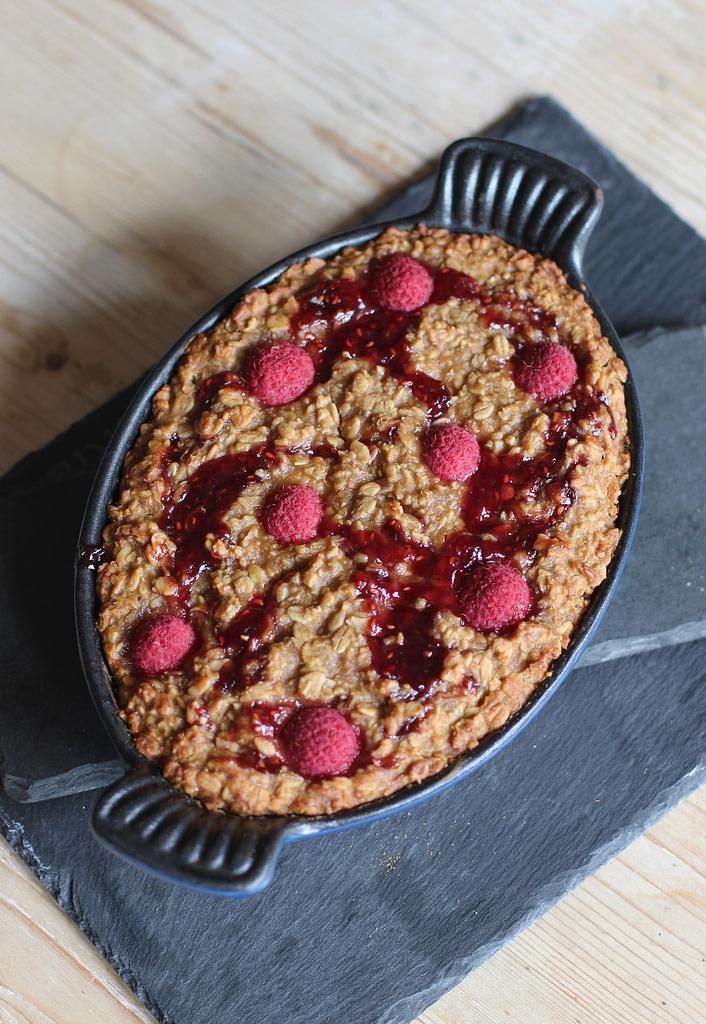 Raspberry Flapjack Pudding